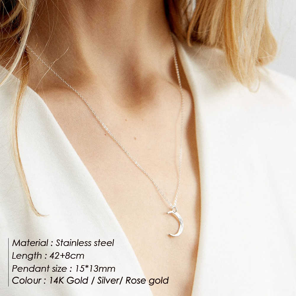 e-Manco Statement Stainless Steel Necklace Women Moon Pendant Necklace dainty Chokers Necklaces for women Graduation Gift
