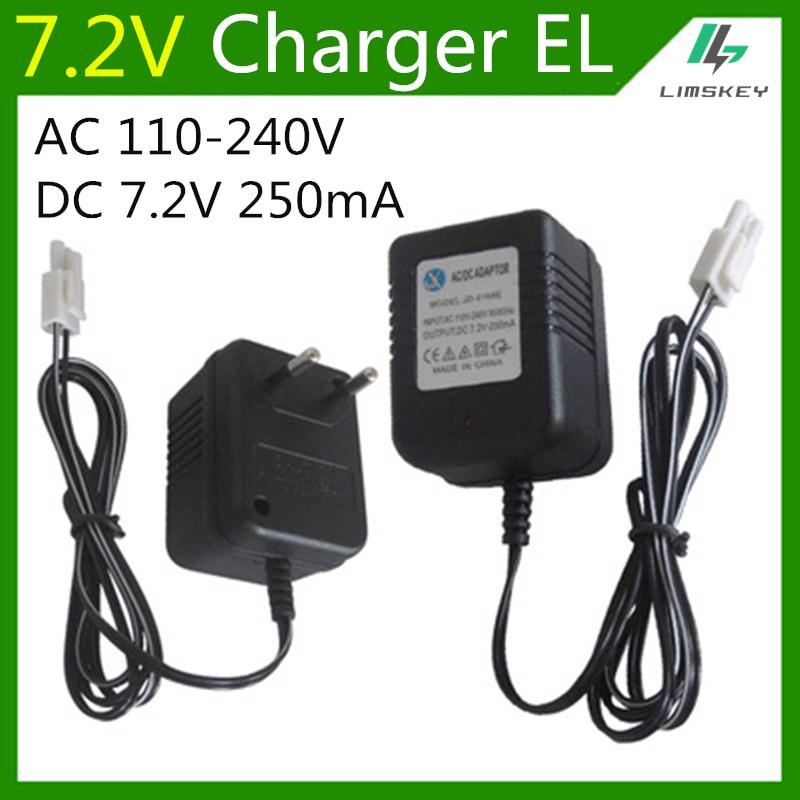 7.2V 250mA Battery Charger For 7.2 V AA NiCd And NiMH Battery Charger For RC Toy Car EL Plug AC 110-240V DC 7.2V 250mAh EU Plug