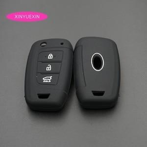 Image 5 - Xinyuexin Auto Schlüssel Fall Abdeckung Silikon für Hyundai Elantra Solaris 2016 2017 2018 3 Tasten Klapp Remote Key Shell