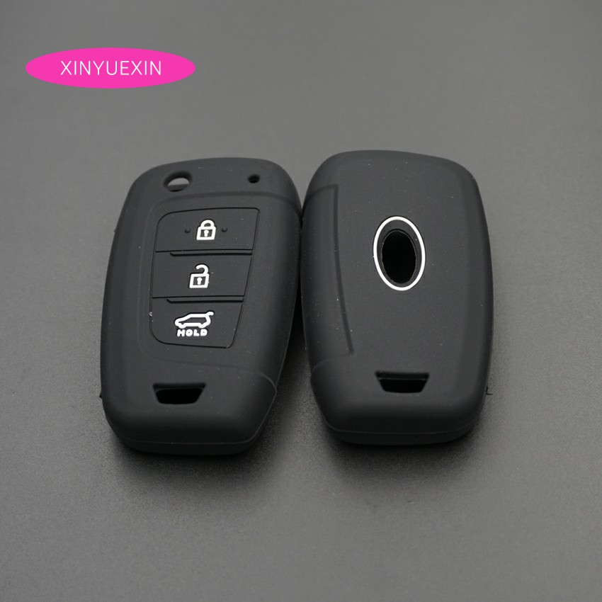 Image 5 - Xinyuexin Car Key Case Cover Silicone for Hyundai Elantra Solaris 2016 2017 2018 3 Buttons Folding Remote Key Shell-in Key Case for Car from Automobiles & Motorcycles