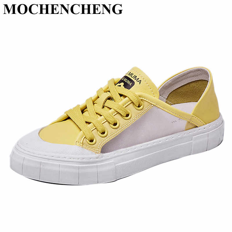 New Women Flat Shoes for Summer Sneakers Adult Female Tennis Footwear Breathable Hollow Mesh Design Stylish Student Canvas Shoes
