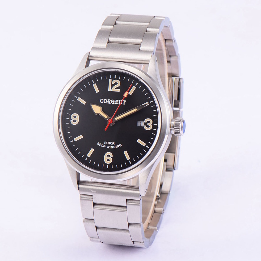 41mm Corgeut sapphire crystal Black Dial Full SS band Date 20ATM Miyota 2815 Automatic men Watch hot selling womens ss watch with tongston middle bead sapphire crystal ss buckle freeshipping ls3506s