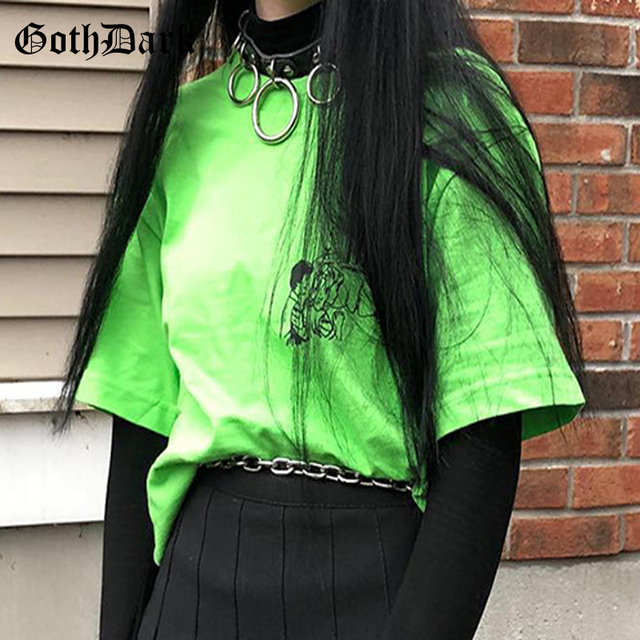 Goth Dark Neon Loose Letter Cartoon Print T-shirts For Women Gothic Fashion Harajuku Streetwear T-shirt Summer 2019 Cool T shirt