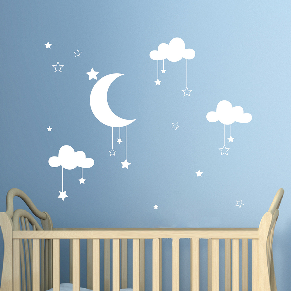 Baby Nursery Clouds Stars Wall Sticker Moon Clouds Wall Decal Kids Room Decor Easy Wall Art Children Cut Vinyl