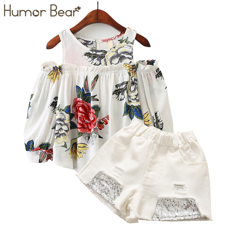 Humor Bear Baby Girl Clothes Suit 2018 Brand Flowers Autumn Printing Dew Shoulder toddler girl clothes Girl Tops+ Pant 3-7Y humor bear baby clothes girl clothes 2018 brand girls clothing sets kids clothes children clothing toddler girl tops pant 2 6y
