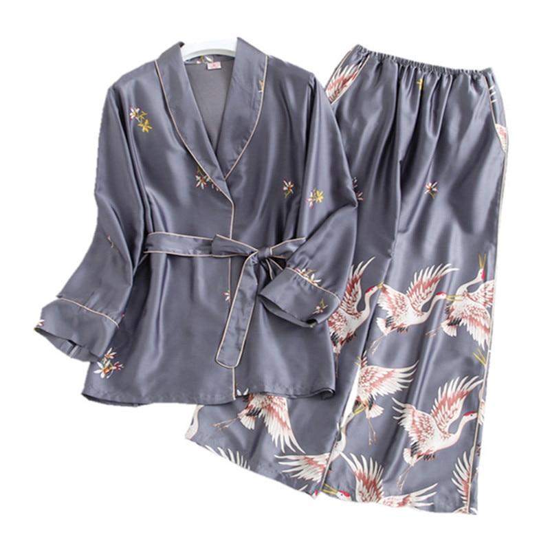 Satin   Pajama     Set   women Spring Summer Silk Lady's Sleepwear Long Sleeve Fashion   pajamas   Printed Sleepwear Home Clothing Two Suits