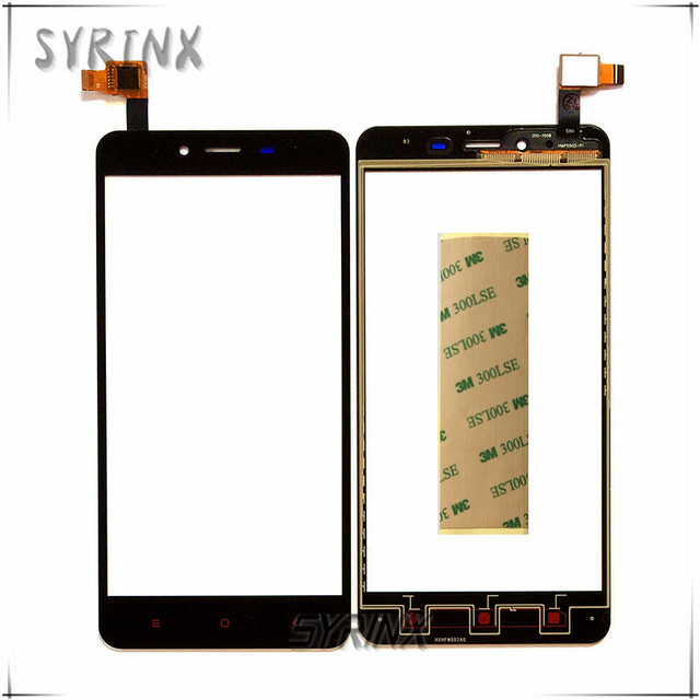 Syrinx + Tape Phone Touchscreen Sensor For Xiaomi Redmi Note2 Hongmi Note 2 Touch Screen Front Glass Panel Digitizer Replacement