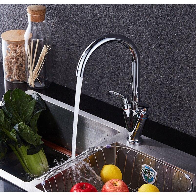 Robinets de cuisine 360 degrés pivotant évier mélangeur Chrome finition laiton deux poignée robinet 360 rotatif unique trou - 2