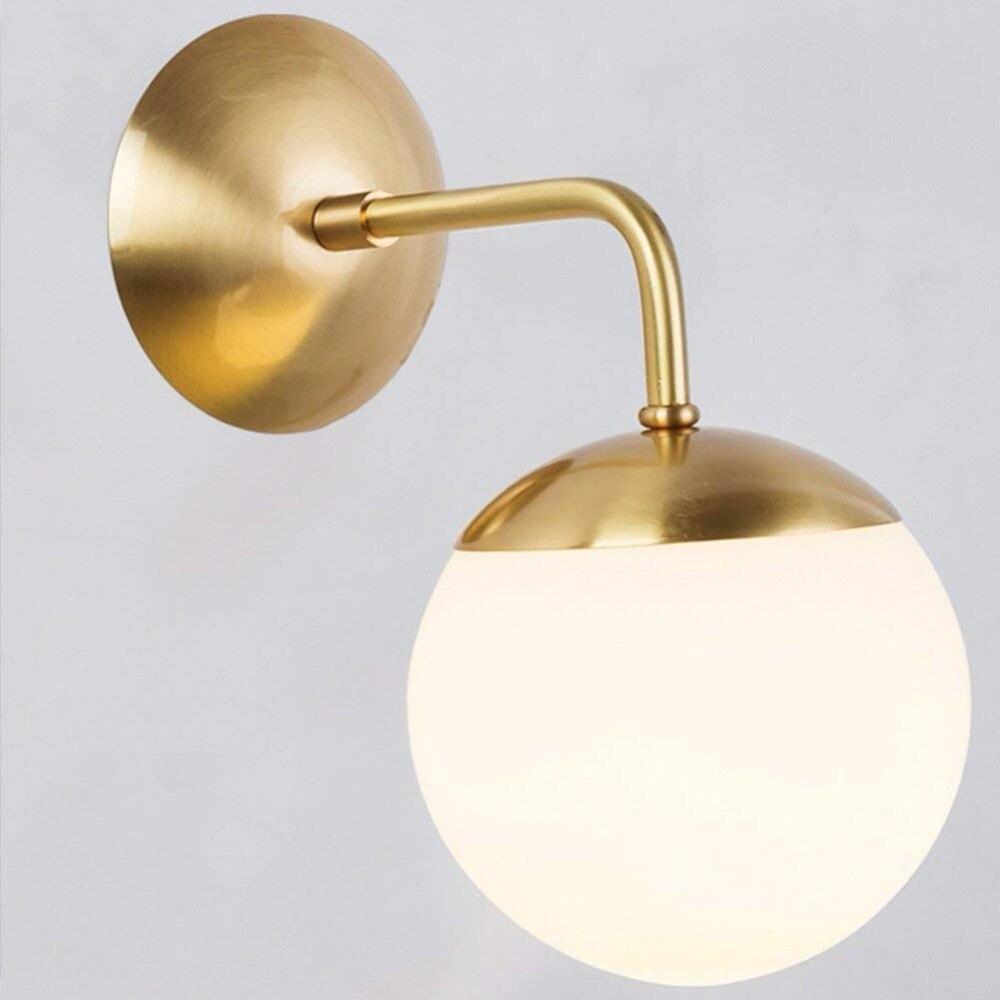 Copper Glass Ball Wall Lamp, Magic Bean Globe Brass Wall Light Sconce For Restaurant, Bathroom, Mirror Headlights Bedside