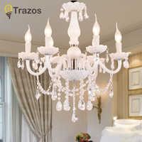Estilo Europeo candelabros de cristal blanco arañas Led moderno para sala de estar lustres de sala de cristal decoración de boda