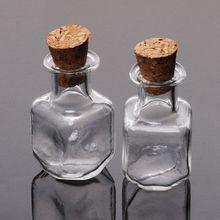 Необычный дизайн 10 шт Квадратные прозрачные стеклянные бутылки для мыльных пузырей Флаконы Контейнеры с пробками, 25*14 мм-10018060