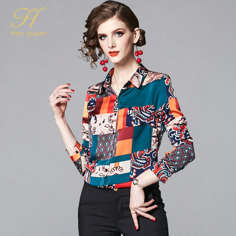 H Han Queen 2019 Women Shirt Summer Autumn Casual Loose Chiffon Blouse Long Sleeve Top Camisa Feminina Ladies Work Print Blouses