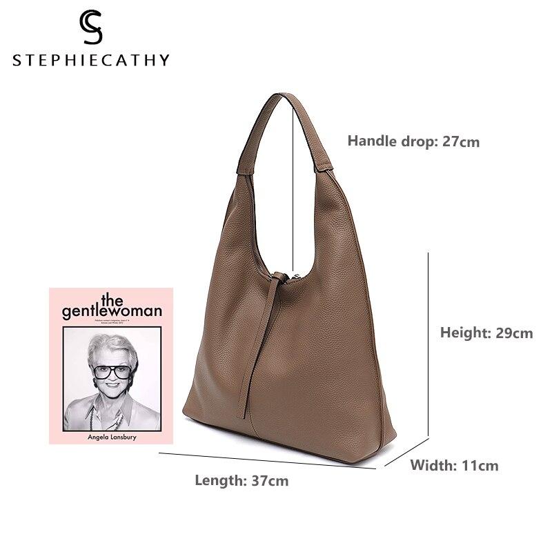 SC ของแท้หนัง Hobo กระเป๋าสตรีขนาดใหญ่กระเป๋าถือสุภาพสตรี Cowhide กระเป๋าสะพายยี่ห้อกระเป๋าถือกระเป๋าถือเหรียญหญิง Bolsa-ใน กระเป๋าสะพายไหล่ จาก สัมภาระและกระเป๋า บน   3