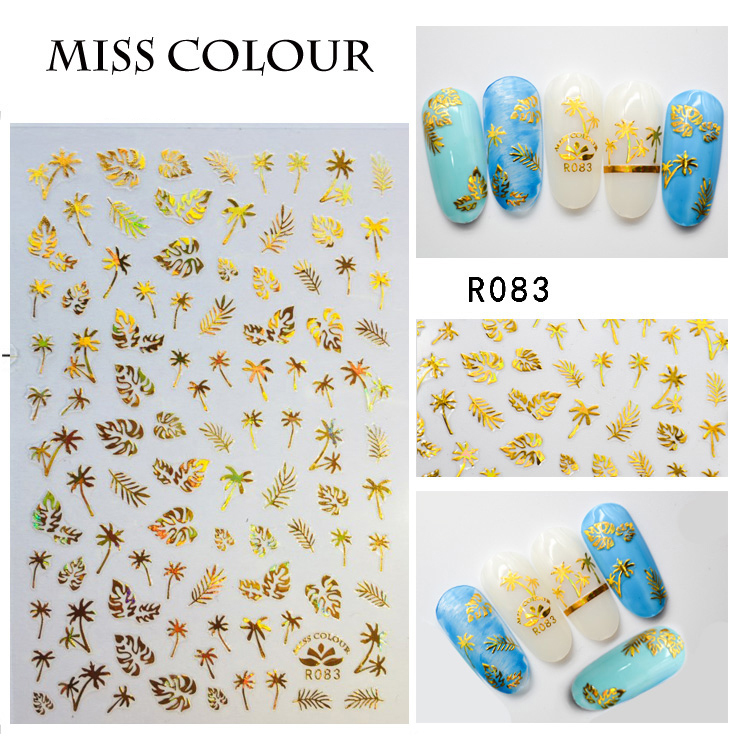1pc 3D Nail Sticker Holographic Gold Metallic Adhesive Transfer Decals Coconut Tree Leaf Manicure Stickers Nail Art Decorations 24pcs lot 3d nail stickers decal beauty summer styles design nail art charms manicure bronzing vintage decals decorations tools