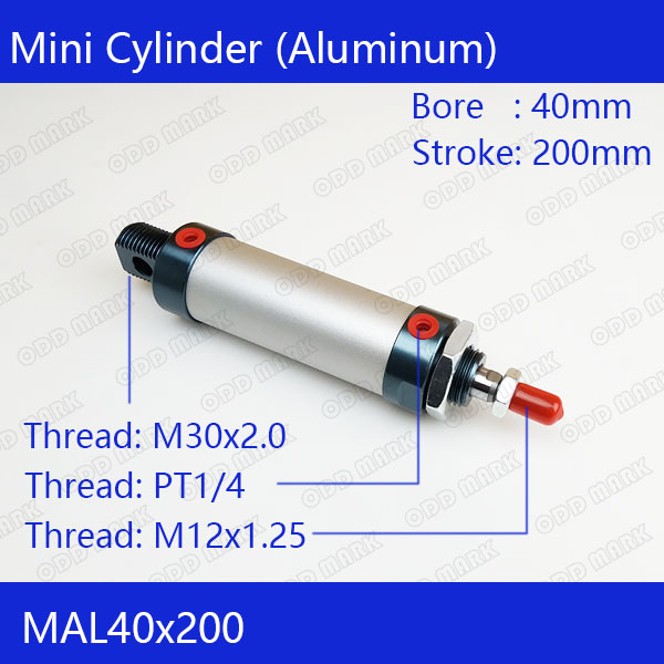 Free shipping barrel 40mm Bore200mm Stroke  MAL40x200 Aluminum alloy mini cylinder Pneumatic Air Cylinder MAL40-200 16mm bore 100mm stroke aluminum alloy pneumatic mini air cylinder mal16x100 free shipping
