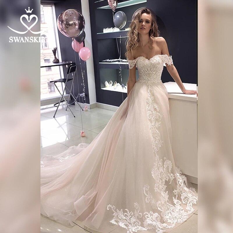 Luxury Appliques Wedding Dress 2019 Swanskirt Off Shoulder Lace A-Line Vestido De Novia Beaded Court Train Bridal Gown HZ07