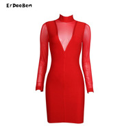 ERDAOBEN High Quality Winter Red Mesh Bandage Dresses Womens Sexy Dresses Party Night Club Dress DR751