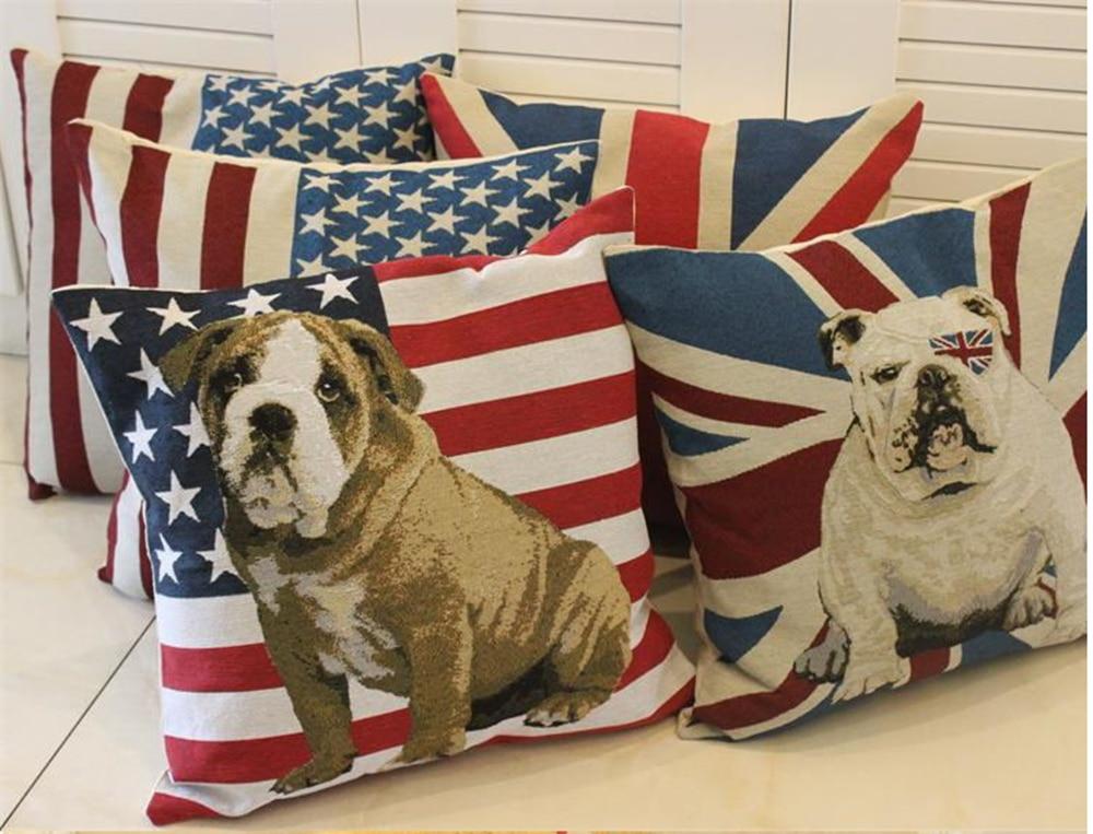 45 cm x 45 cm drapeau motif canapé coussin fermeture à glissière traversin coton linge carré oreiller décoration maison cadeau