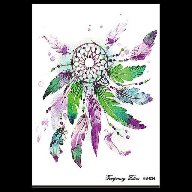 9e9c8f115 Fantasy 1 Sheet Dreamcatcher Tatoo Temporary Sticker HB634 Fake DIY Dream  Catcher Feather Decal Women Body