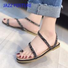 Summer ladies sandals casual shoes fashion sandals sequins women's open toe flat shoes beach shoes one-strap buckle y103