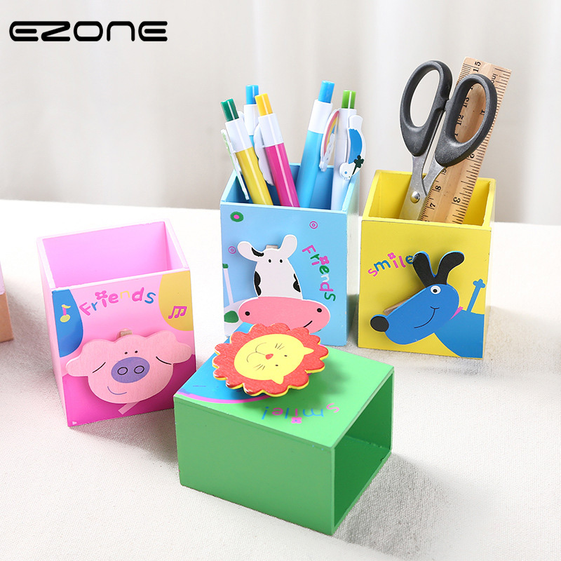 EZONE 1PC Cartoon Animals Pen Holder Wooden Desktop Pen Holder Children Stationery Lion/Pig/Cow/Dog Pattern Pen Hold With Clip