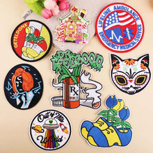 DOUBLEHEE Round Flag Patch Embroidered Patches For Clothing Iron On Close Shoes Bags Badges Embroidery