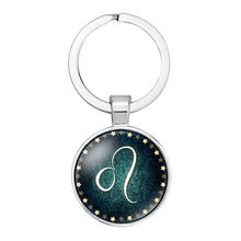 12 Zodiac Signs Key Chains Virgo Capricorn Scorpio Taurus Leo Aries Constellation Signs Glass Keychain Key Holder Gift(China)