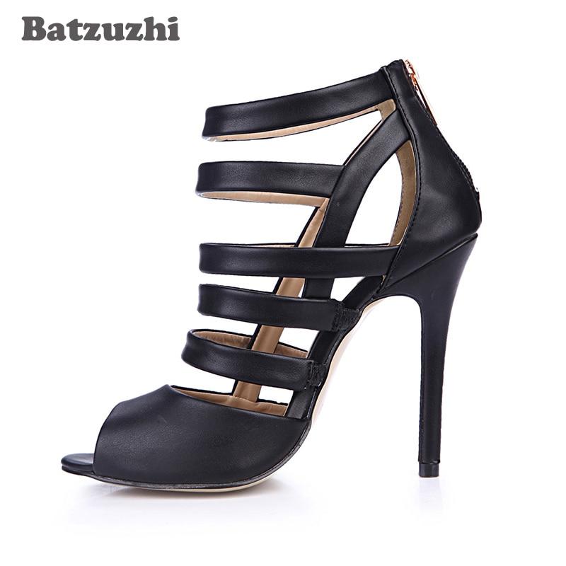 Femmes Gladiateur Taille Batzuzhi Chaussures En Sexy Ouvert Bretelles 43 Noir Sandales MujerGrande Cm Cuir Zip À 12 Bout Zapatos O8nX0PNwk