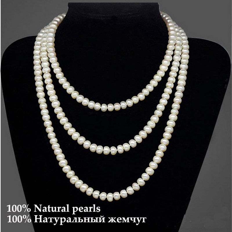 Image 3 - ASHIQI 90cm/120cm Natural Freshwater Pearl Necklaces  Jewelry 3 