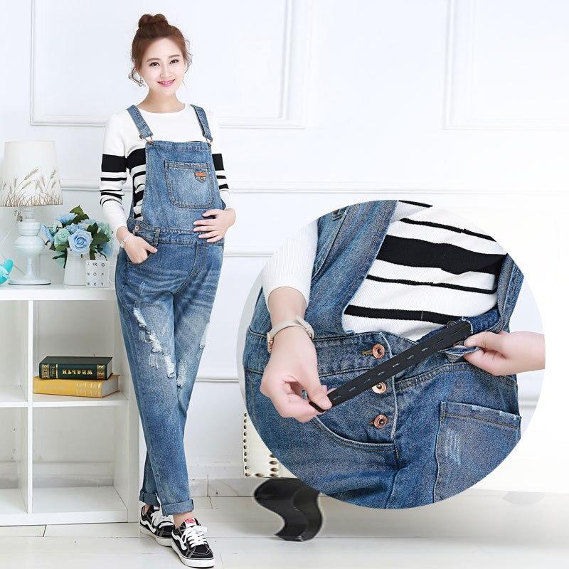 New Style Pregnant Women Denim Bib Pregnant Women Denim Bellies Trousers Autumn And Winter Pregnant Women Jeans Strap Trousers