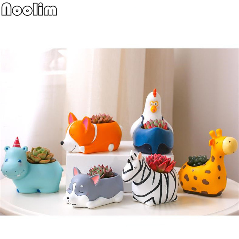 Colorful Cartoon Animals Ceramic Flower Pot Creative Personality Tabletop Vase Home Office Decoration Creative Gifts