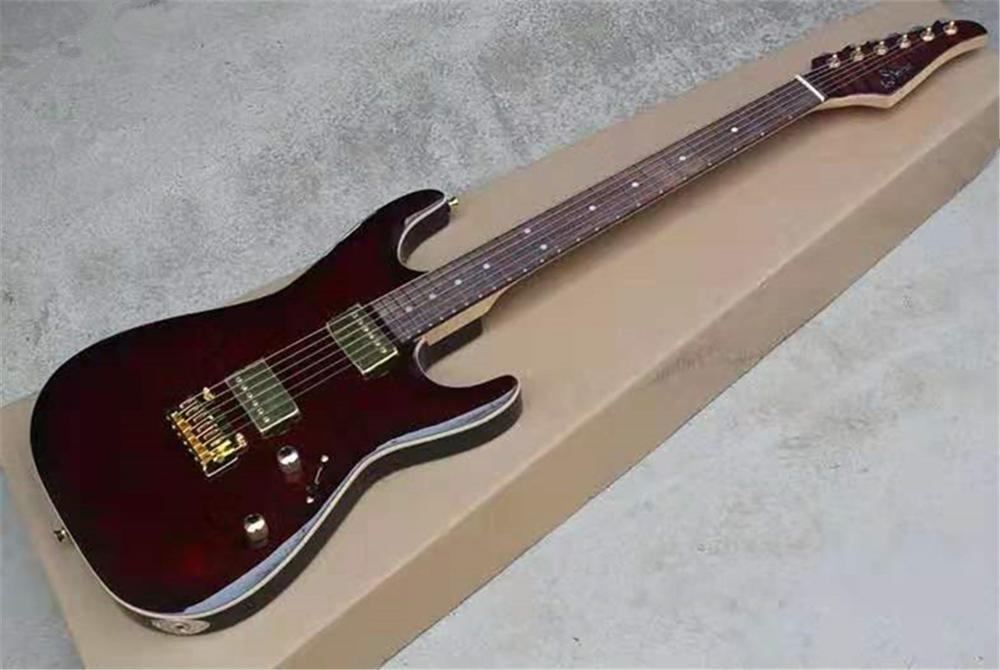 Free of freight, electric guitar, wine red. Gold accessories, customizable(China)