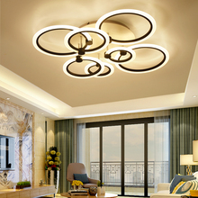 rings white black chandeliers LED circle modern chandelier lights for living room acrylic Lampara de techo