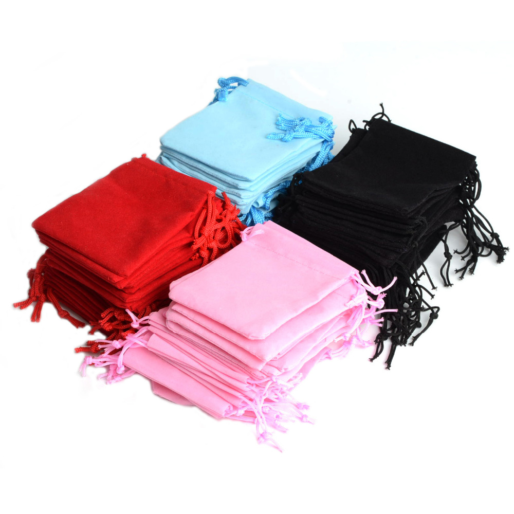 De Bijoux 100Pcs Mix Color 10x12cm Velvet Jewelry Gift Packing Bags Velvet Pouch,Christmas/Wedding Gift Bag Pochette Cadeau