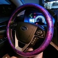 Fashion Electro Plating 38cm Universal Car Steering Wheel Cover for Women Car Interior Styling Pink