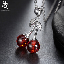 925 Sterling Silver Red Natural Stone Cherry Pendant Necklaces for Women