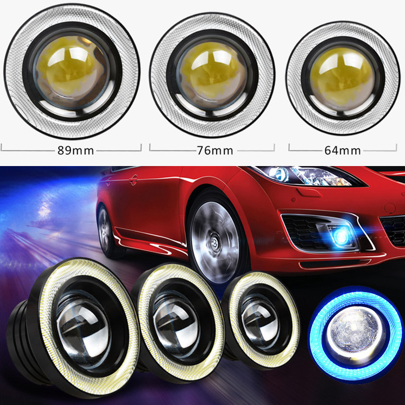 2.5inch 3.0inch 3.5inch Auto Fog Lamp assembly With COB LED Lens Angel Eyes Fog Lamps Refitting Fish Eye Day Runing Light ownsun innovative super cob fog light angel eye bumper cover for skoda fabia scout
