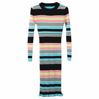 2018 Women Striped Dress Ribbed Knitted Long Sleeve Bodycon Long Dress Elegant Ladies Autumn Winter Sweater