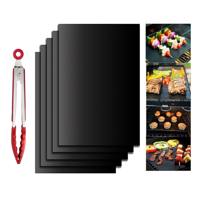 Non-Stick BBQ Grill Mat Barbecue Baking Mat Liners Teflon Heat Resistant Roast Grill Mat For Party Reusable Cooking Tools коврик для гриля купить