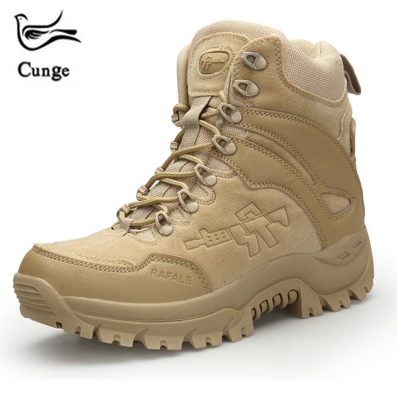 Cunge Military Boots Men Fashion Army Boots Men' s Tactical Desert Combat High Top Ankle Boots Men Outdoor Work Shoes