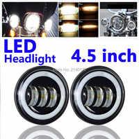 DOT SAE Zustimmung 4-1/2 ''4,5 zoll led vorbei licht mit Angel eyes LED Nebel licht Lampen für harley Motorrad