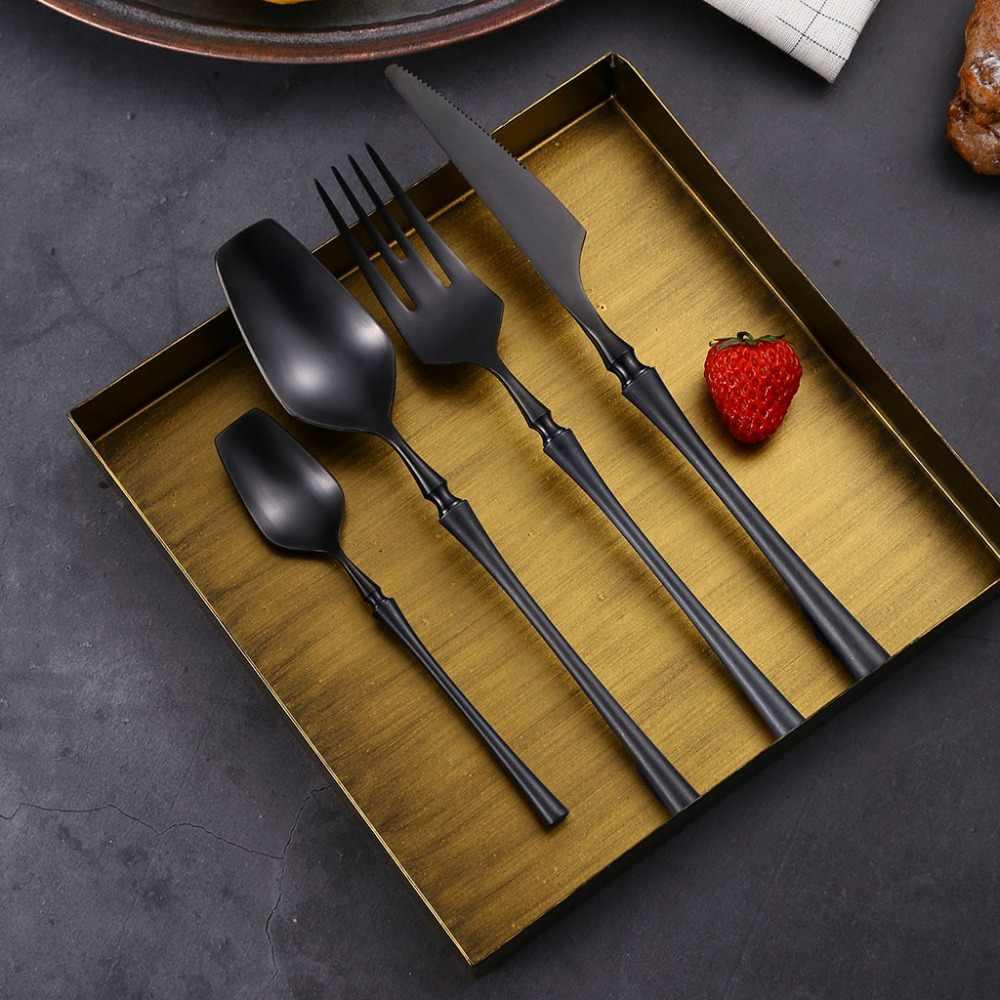 24 ชิ้น/เซ็ตสีดำทองชุดช้อนส้อม 304 สแตนเลสอาหารเย็น Western Silver เครื่องเงิน Flatware Set Drop Shipping