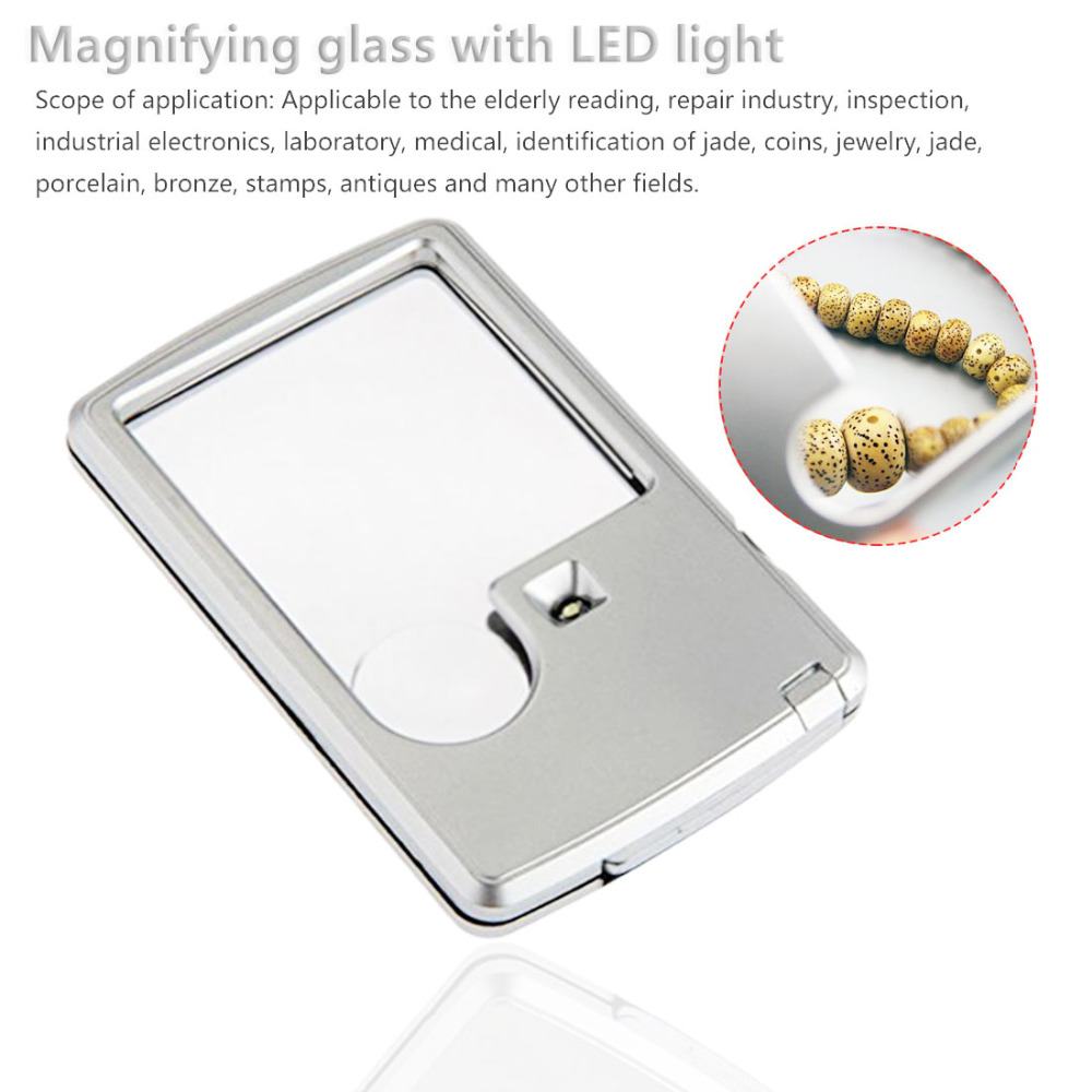 Square Microscope 3X 6X Magnifier Credit Card Eye Loupe Magnifier Glass With LED Light Leather Case For Jeweler/Reading Glass