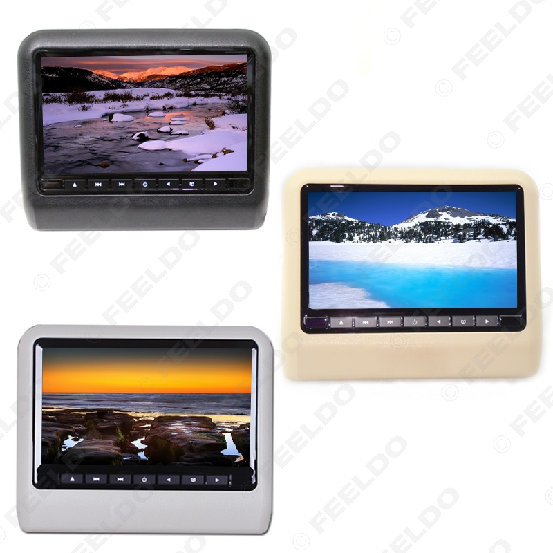 FEELDO 1PC Digital HD 9 Car Headrest LCD Monitor Hanging DVD Player With FM USB SD