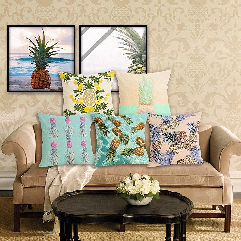 RECOLOUR hot pineapple cotton linen throw pillows square Cushion Cover pillow cover Home decor cojines decorativos para sofa