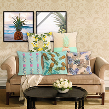 RECOLOUR hot pineapple cotton linen throw pillows square Cushion Cover pillow cover Home decor cojines decorativos para sofa