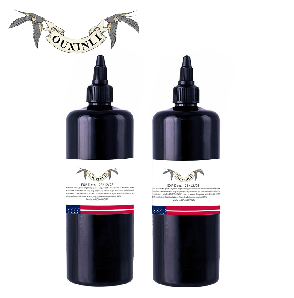 OUXINLI 2 pieces Large bottle of black tattoo ink 12OZ (360ml) 12oz super black makkruo sumi tattoo outlining ink