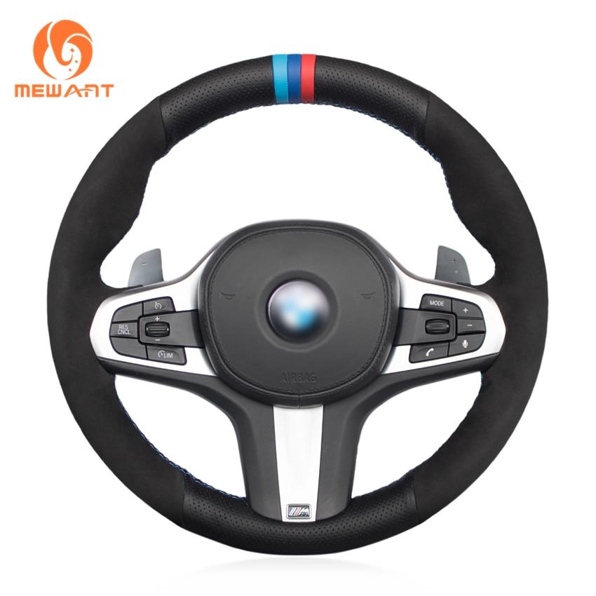 MEWANT Black Genuine Leather Suede Car Steering Wheel Cover for BMW G30 525i 530i 530d M550i M550d 2017 2018 G32 630i 640i M runba ice silk steering wheel cover sets with red thread