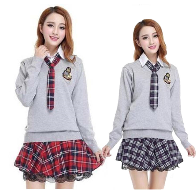 f5d6dbe94 College School Uniform Sailor Uniform Set Japan Korea Long Sleeve Shirt  Plaid Skirt With Sweater Suit Girls School Uniform-in School Uniforms from  Novelty ...