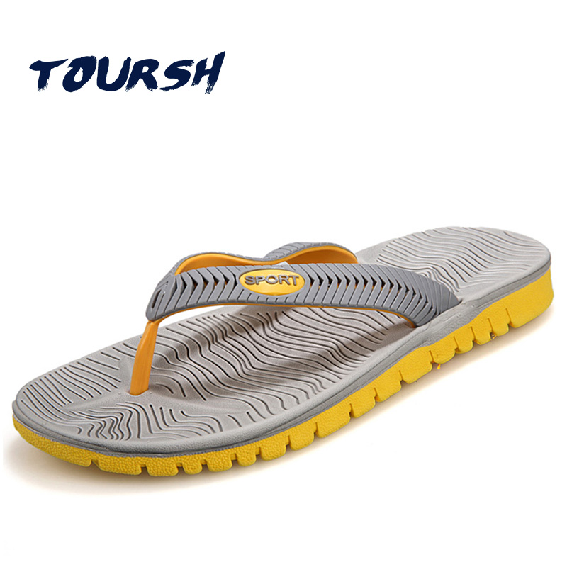 TOURSH Beach Casual Slippers Mens Flip Flops Summer Sandals Men Sandalias Playa Hombre Sandales Homme Black Size8.5 9.5 10 стоимость